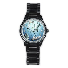 Animated Nature Wallpaper Animated Bird Stainless Steel Round Watch by AnjaniArt