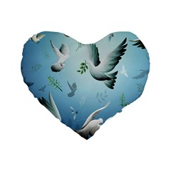 Animated Nature Wallpaper Animated Bird Standard 16  Premium Flano Heart Shape Cushions by AnjaniArt