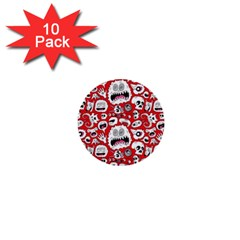 Another Monster Pattern 1  Mini Buttons (10 Pack)  by AnjaniArt