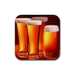 Beer Wallpaper Wide Rubber Coaster (square)  by AnjaniArt