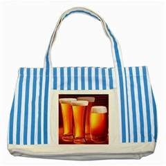 Beer Wallpaper Wide Striped Blue Tote Bag