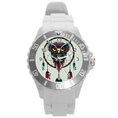 Bird Round Plastic Sport Watch (l) by AnjaniArt