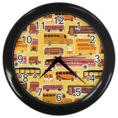 Bus Cartoons Logo Wall Clocks (black) by AnjaniArt