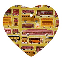 Bus Cartoons Logo Heart Ornament (2 Sides) by AnjaniArt