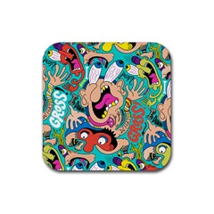 Cartoons Funny Face Patten Rubber Coaster (square)  by AnjaniArt