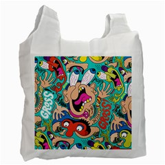 Cartoons Funny Face Patten Recycle Bag (two Side)  by AnjaniArt