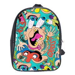 Cartoons Funny Face Patten School Bags(large)  by AnjaniArt