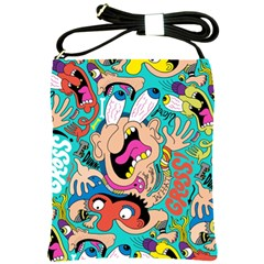 Cartoons Funny Face Patten Shoulder Sling Bags by AnjaniArt