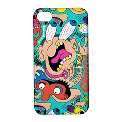 Cartoons Funny Face Patten Apple Iphone 4/4s Hardshell Case With Stand by AnjaniArt