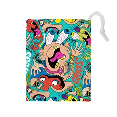 Cartoons Funny Face Patten Drawstring Pouches (large)  by AnjaniArt