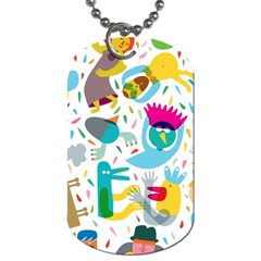 Colorful Cartoon Funny People Dog Tag (two Sides) by AnjaniArt