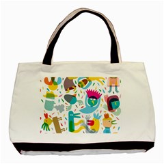 Colorful Cartoon Funny People Basic Tote Bag