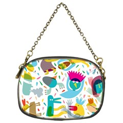 Colorful Cartoon Funny People Chain Purses (one Side)