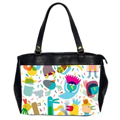 Colorful Cartoon Funny People Office Handbags (2 Sides)  by AnjaniArt