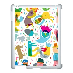 Colorful Cartoon Funny People Apple Ipad 3/4 Case (white) by AnjaniArt