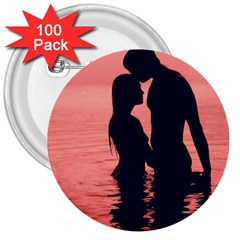 Couple In Love Beach 3  Buttons (100 Pack)