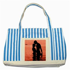 Couple In Love Beach Striped Blue Tote Bag by AnjaniArt
