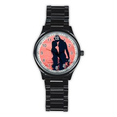 Couple In Love Beach Stainless Steel Round Watch by AnjaniArt