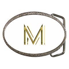 M Monogram Initial Letter M Golden Chic Stylish Typography Gold Belt Buckles by yoursparklingshop