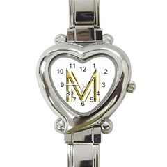 M Monogram Initial Letter M Golden Chic Stylish Typography Gold Heart Italian Charm Watch by yoursparklingshop