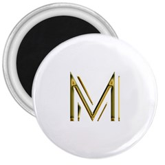 M Monogram Initial Letter M Golden Chic Stylish Typography Gold 3  Magnets by yoursparklingshop