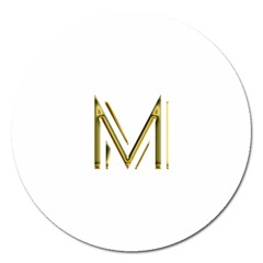 M Monogram Initial Letter M Golden Chic Stylish Typography Gold Magnet 5  (round) by yoursparklingshop