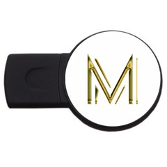 M Monogram Initial Letter M Golden Chic Stylish Typography Gold Usb Flash Drive Round (2 Gb)  by yoursparklingshop