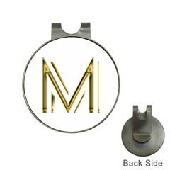 M Monogram Initial Letter M Golden Chic Stylish Typography Gold Hat Clips With Golf Markers