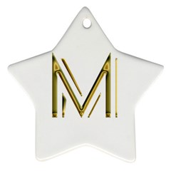 M Monogram Initial Letter M Golden Chic Stylish Typography Gold Star Ornament (two Sides)