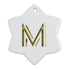 M Monogram Initial Letter M Golden Chic Stylish Typography Gold Ornament (snowflake)