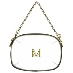 M Monogram Initial Letter M Golden Chic Stylish Typography Gold Chain Purses (two Sides)
