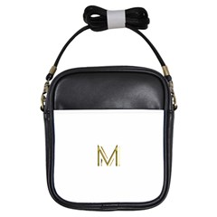 M Monogram Initial Letter M Golden Chic Stylish Typography Gold Girls Sling Bags by yoursparklingshop
