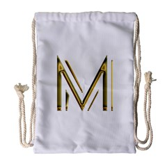M Monogram Initial Letter M Golden Chic Stylish Typography Gold Drawstring Bag (large)