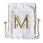 M Monogram Initial Letter M Golden Chic Stylish Typography Gold Drawstring Bag (Large) Front