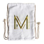 M Monogram Initial Letter M Golden Chic Stylish Typography Gold Drawstring Bag (Large) Back