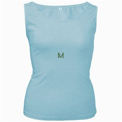 M Monogram Initial Letter M Golden Chic Stylish Typography Gold Women s Baby Blue Tank Top by yoursparklingshop