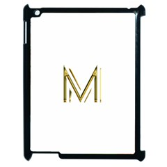 M Monogram Initial Letter M Golden Chic Stylish Typography Gold Apple Ipad 2 Case (black) by yoursparklingshop