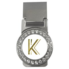 Monogrammed Monogram Initial Letter K Gold Chic Stylish Elegant Typography Money Clips (cz)  by yoursparklingshop
