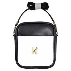 Monogrammed Monogram Initial Letter K Gold Chic Stylish Elegant Typography Girls Sling Bags by yoursparklingshop