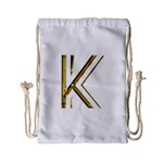 Monogrammed Monogram Initial Letter K Gold Chic Stylish Elegant Typography Drawstring Bag (Small) Front