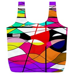 Abstract Waves Full Print Recycle Bags (l)  by Valentinaart