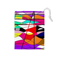 Abstract Waves Drawstring Pouches (medium)
