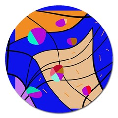 Decorative Abstract Art Magnet 5  (round) by Valentinaart