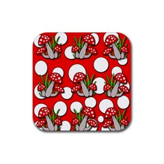 Mushrooms Pattern Rubber Coaster (square)  by Valentinaart