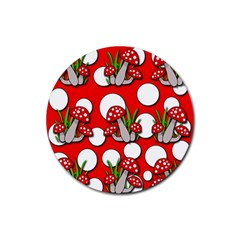 Mushrooms Pattern Rubber Coaster (round)  by Valentinaart