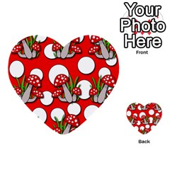 Mushrooms Pattern Multi Purpose Cards (heart)  by Valentinaart