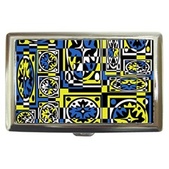 Blue And Yellow Decor Cigarette Money Cases by Valentinaart