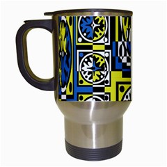Blue And Yellow Decor Travel Mugs (white) by Valentinaart