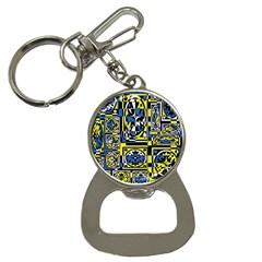 Blue And Yellow Decor Bottle Opener Key Chains by Valentinaart