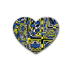 Blue And Yellow Decor Heart Coaster (4 Pack)  by Valentinaart